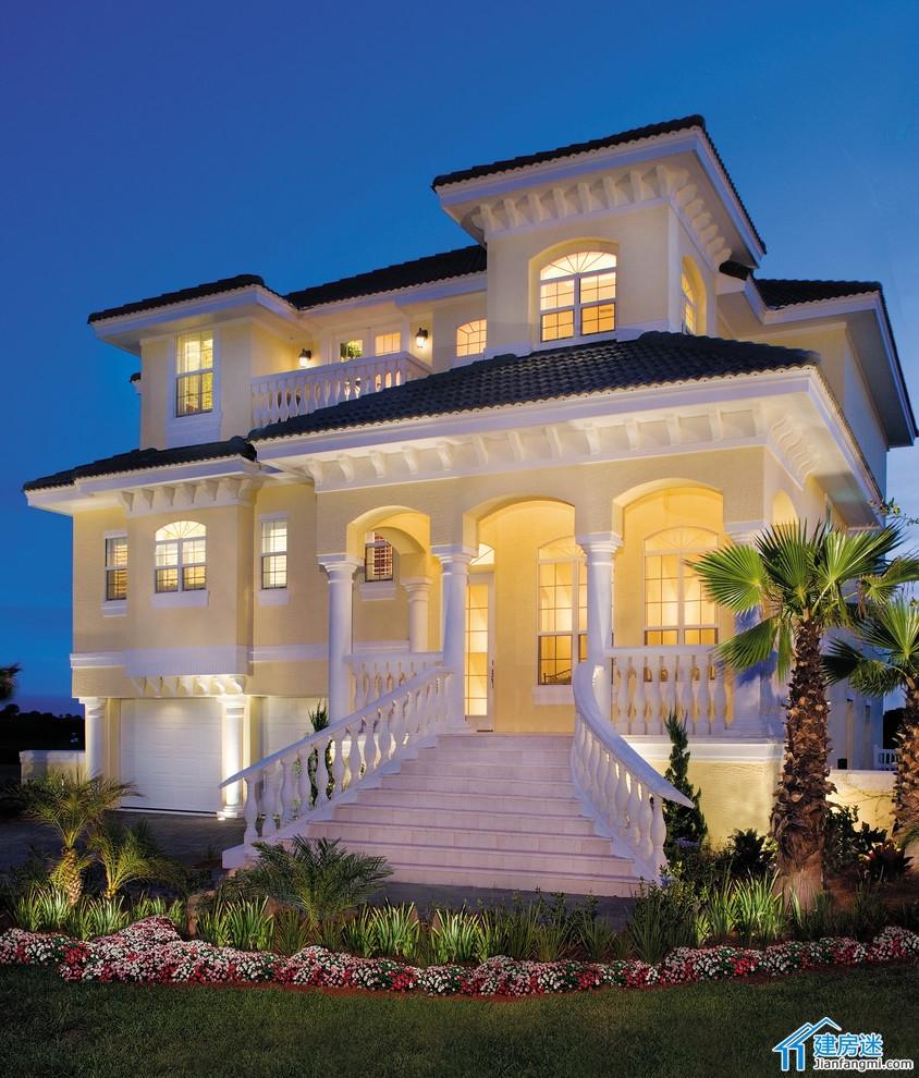 超大别墅_新农村自建房三大间三层双车库房屋设计图,300平米以上超大户型别墅