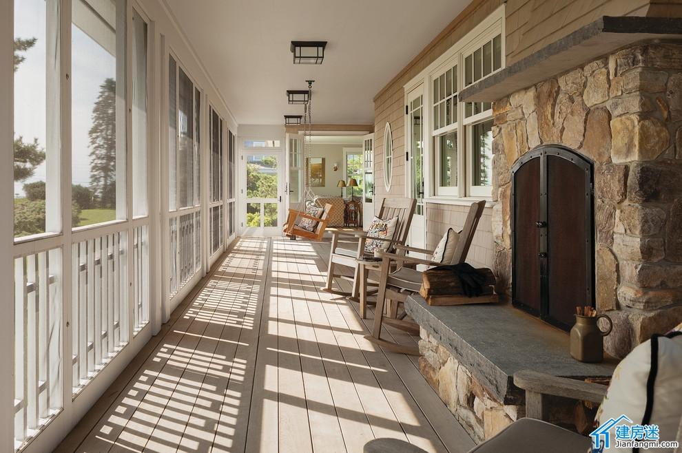 新农村自建房设计图一楼门庭走廊效果图喝茶看书凉亭