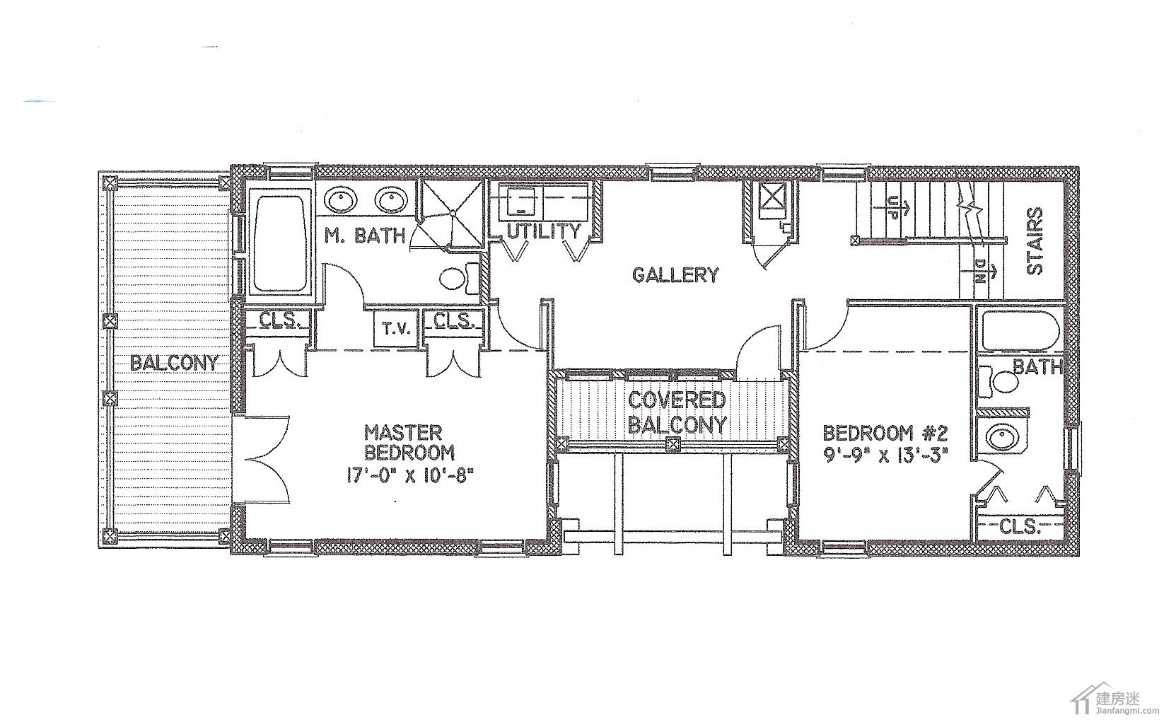 农村自建房狭长地基设计图纸免费下载6米x15米三层