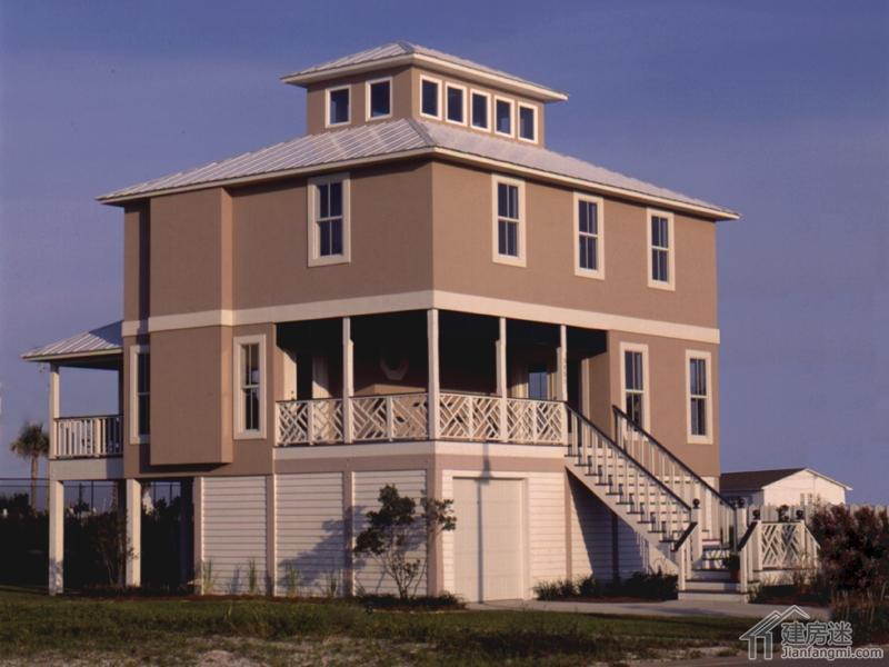 新农村自建房屋设计图纸两层半带架空层别墅9米x8米