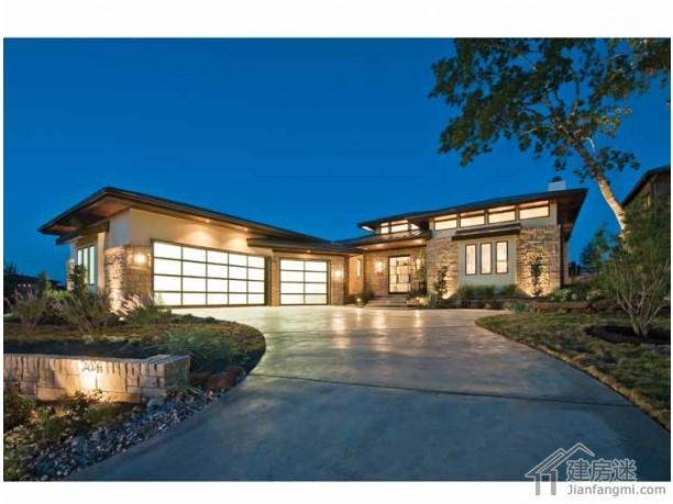 20米x35米新农村自建房超大面积房屋设计图一层半带车库以及游泳池图片