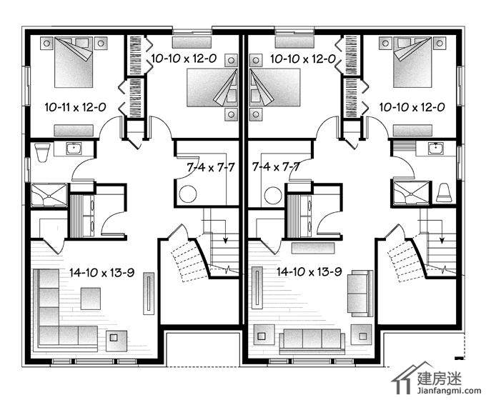 农村自建房联排别墅设计图15米X12米两层轻钢别墅户型图