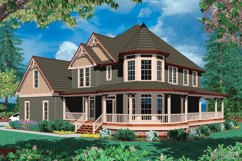 轻钢结构别墅设计图集18米x15米两层双车库农村建房图纸参