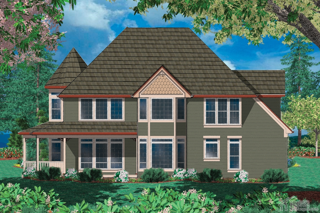 轻钢结构别墅设计图集18米x15米两层双车库农村建房