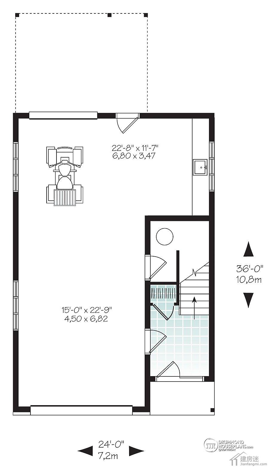 建房迷的朋友们新年快乐,节后分享给大家一套70平米的小户型农村自建房设计图,面宽7.2米,进伸10.8米,对于很多宅基地比较紧张的地区,这样的面积还是比较常见的。不过比较遗憾的就是只设置一个房间,车库占了比较大的位置。 下面是外观图-农村自建房设计图7米X10米两层两大间带车库轻钢轻木结构设计图 [attach]6484[/attach] 一层平面图-农村自建房设计图7米X10米两层两大间带车库轻钢轻木结构设计图 [attach]6485[/attach] 二层平面图,其实大家可以将二层当作一层,然后二层