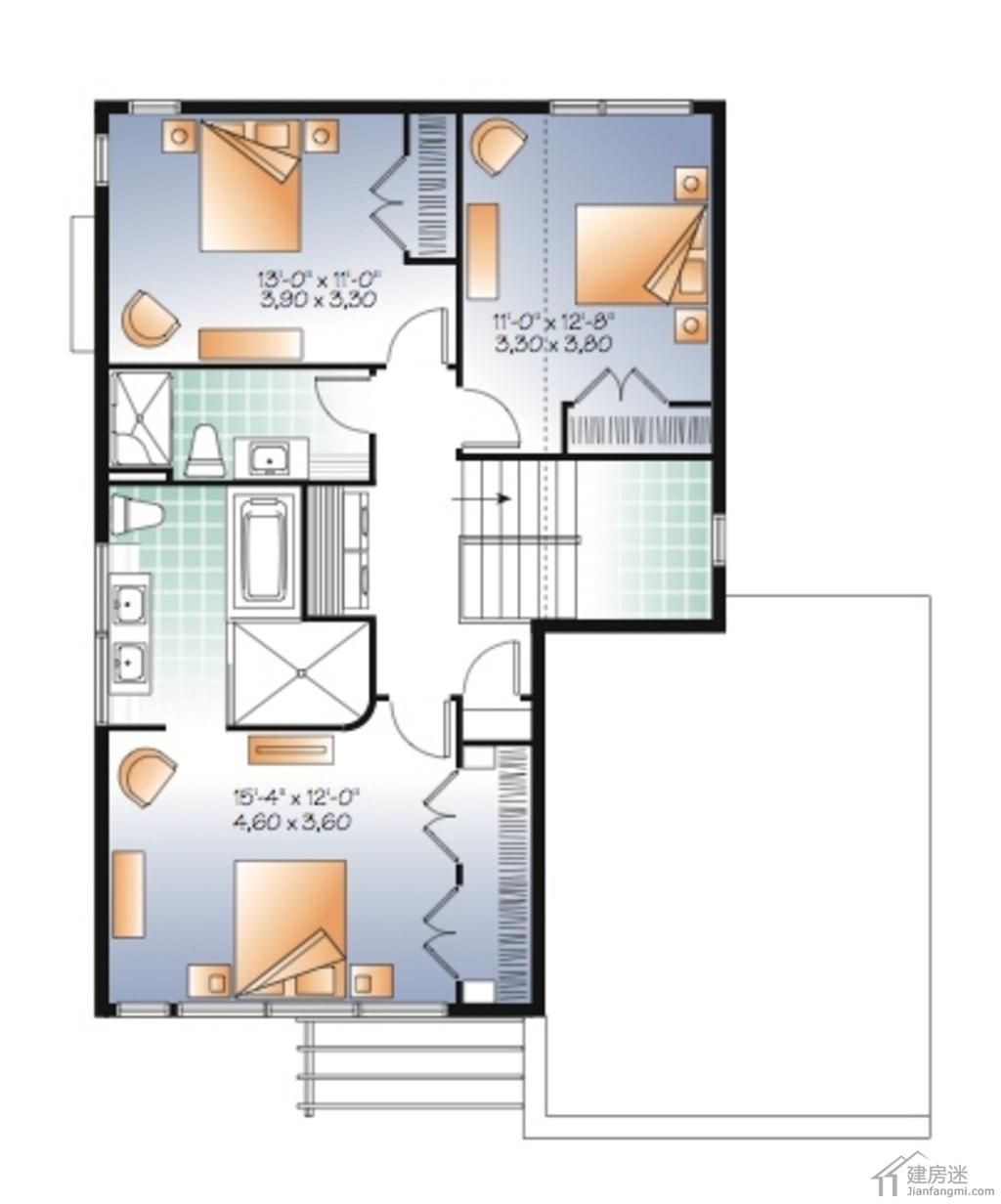 随着农村自建房个性化的需求越来越强烈,很多用户都尝试比较新颖的外观,今天建房迷和大家分享一套现代简约风格的两层小别墅设计图。 现代风格农村自建房设计图两层占地10.8米X13.8米建筑面积150平米-外观图  现代风格农村自建房设计图两层占地10.8米X13.8米建筑面积150平米-后视图  一层平面图  二层平面图