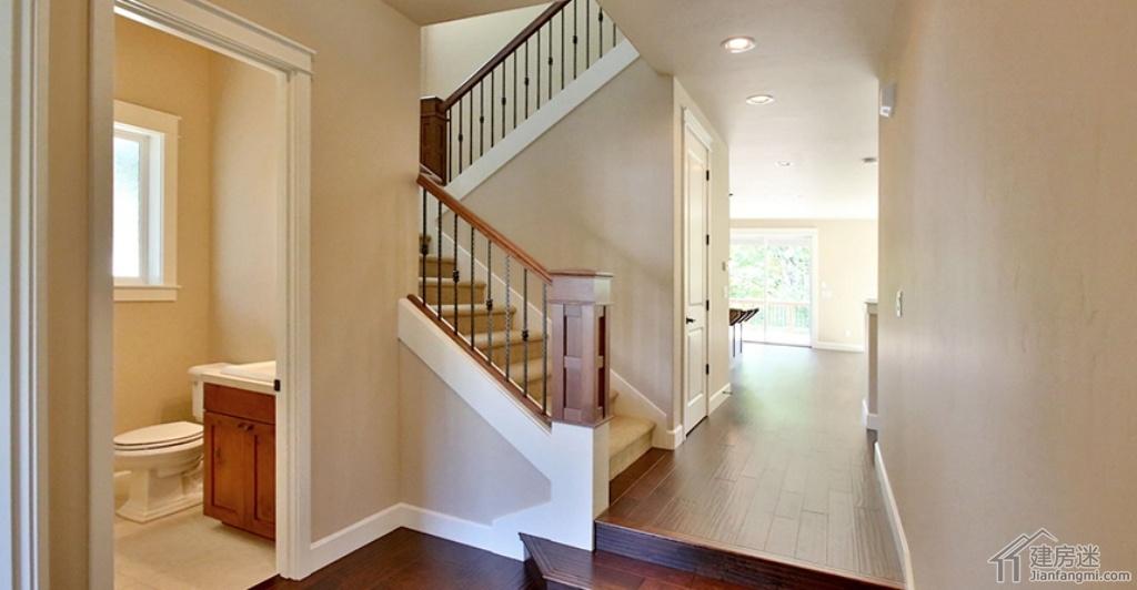 楼梯-农村别墅设计图纸及效果图大全两层三大间120平米文化石外墙