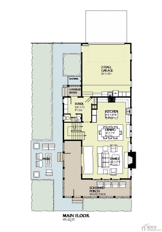 两层半美式风格带阳光房露台占地120平米房屋设计图