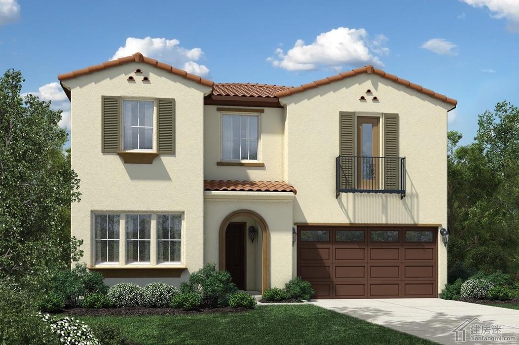 135平米新农村自建房屋设计图参考之美式风格两层轻钢轻木结构别墅