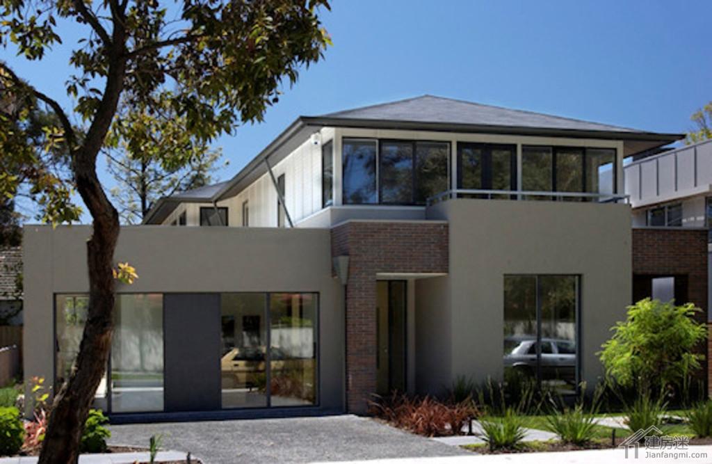 160平米现代风格新农村自建房设计图两层带车库附