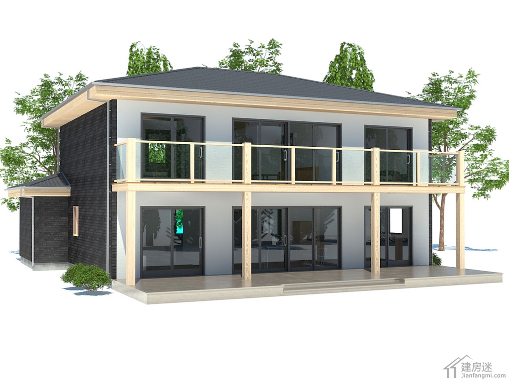 5米X13米新农村自建房设计图190平米三大间两层别墅设计参考