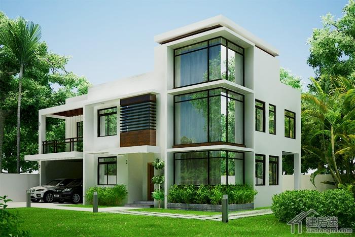 现代风格农村自建房设计图两层三大间120平米建房参考