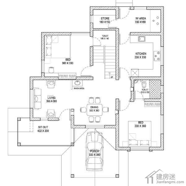 印度风格两层自建房设计图110平米两层砖混结构平面