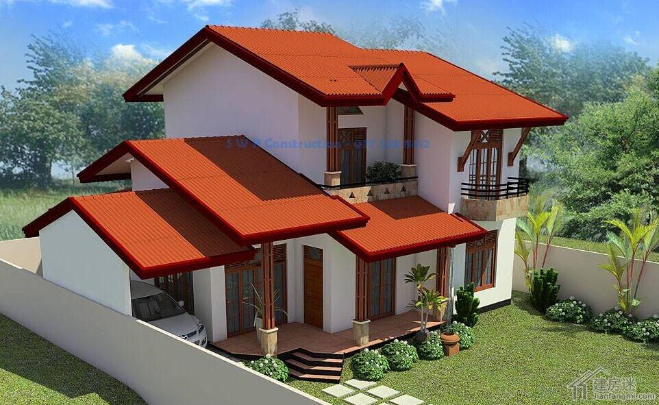 东南亚风格两层经济型小别墅设计图自建房10米x10米