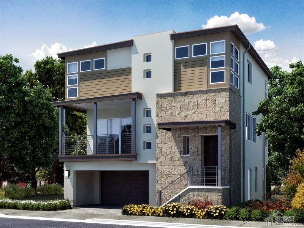 新农村自建房三层地基70平米左右8米x9米轻钢结构自建房设计图