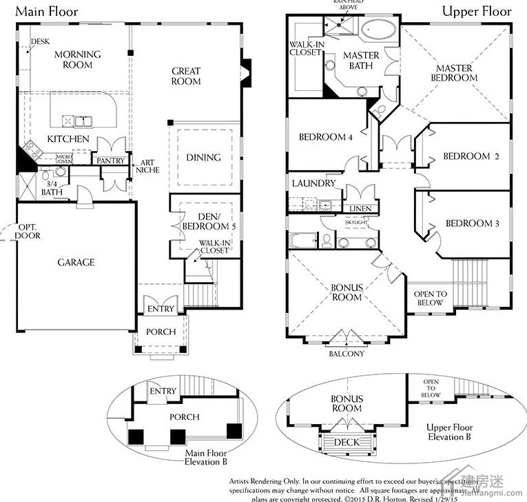 新农村自建房美式工匠风格两层10米x15米150平米盖房图纸参考