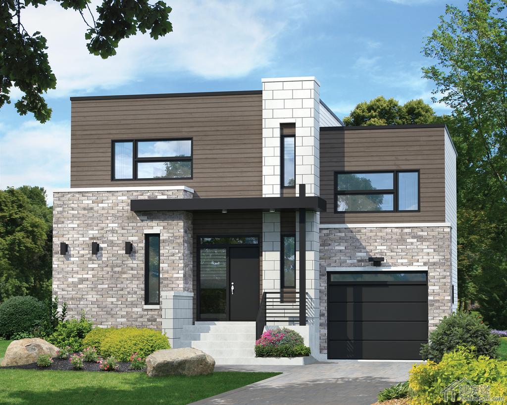 两套现代简约风格10米x10米100平米两层别墅设计图