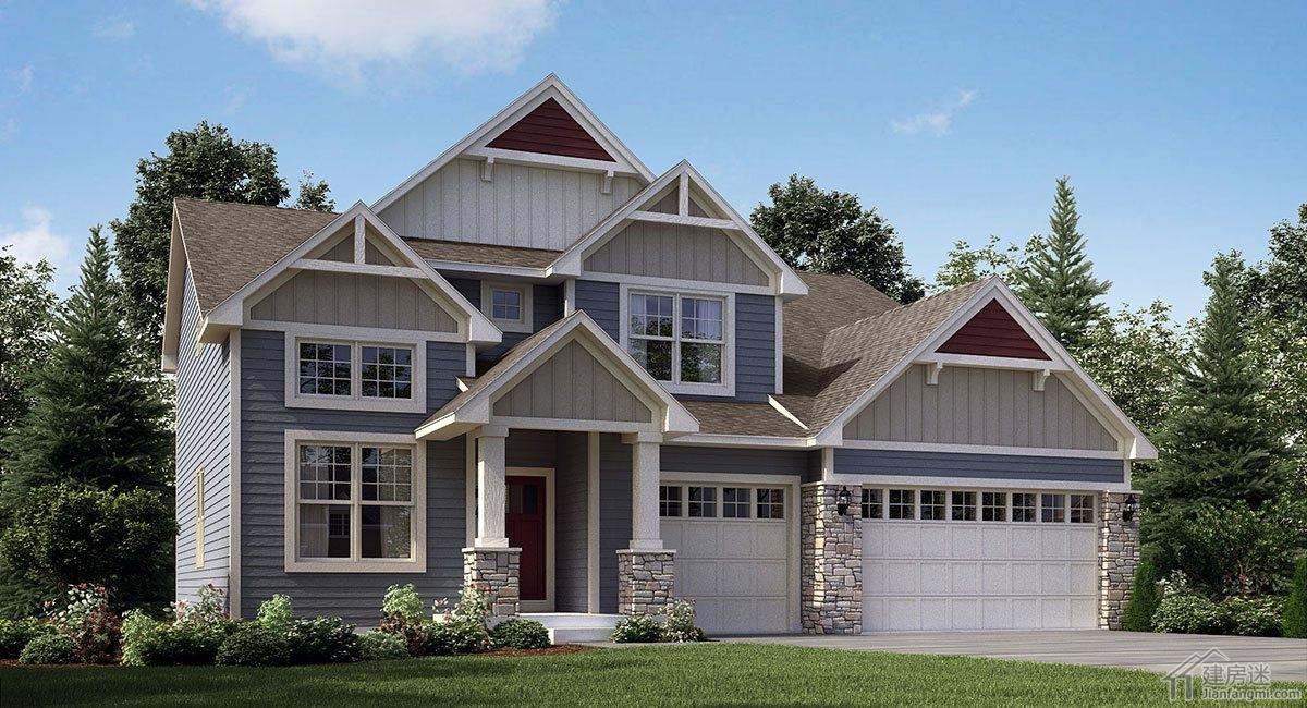 农村自建美式风格别墅12米x12米两层轻钢轻木结构