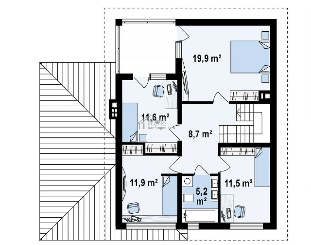 农村自建房12米x12米两层砖混结构房屋设计图带车库