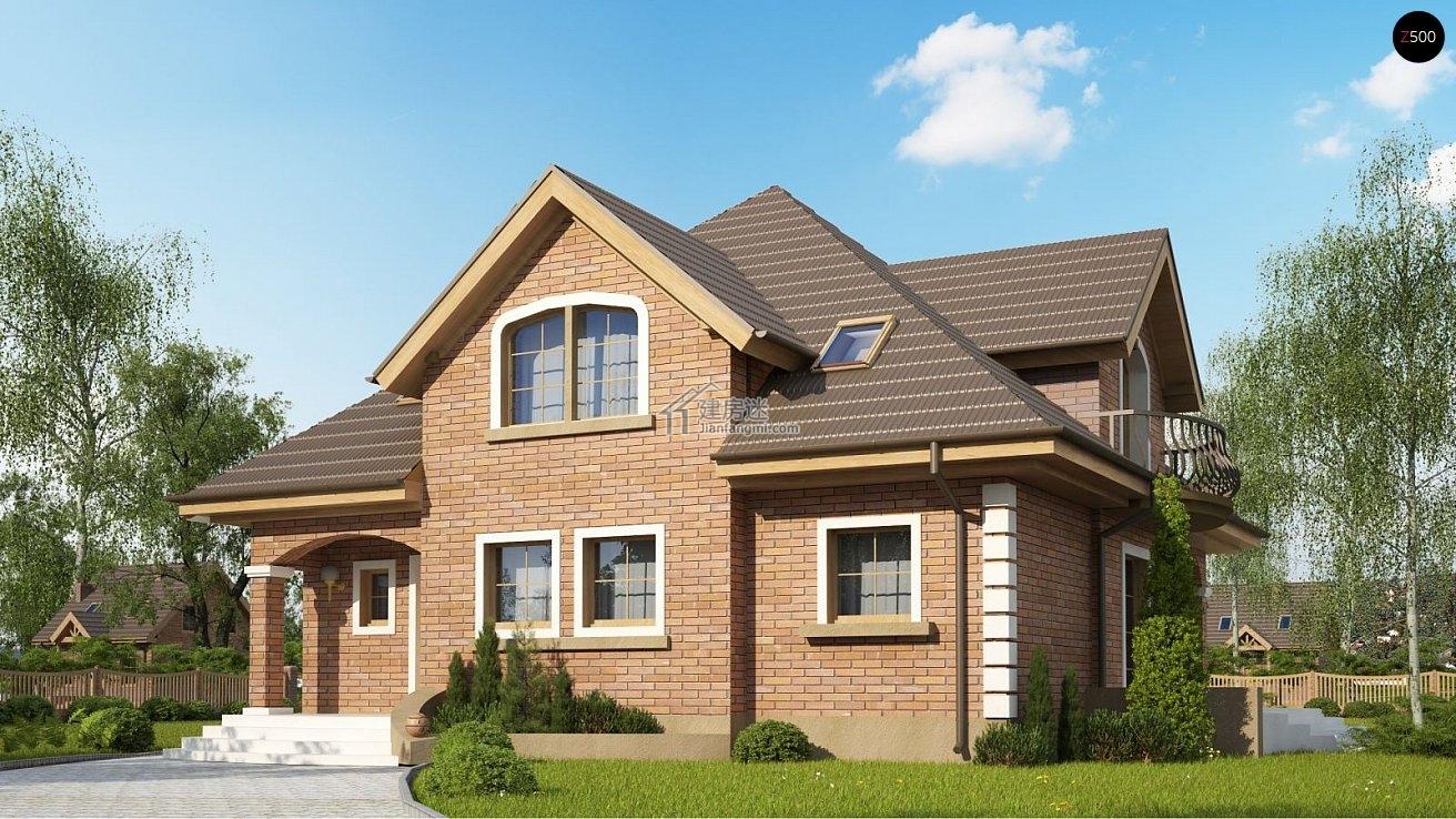 农村自建房12米x12米两层欧式风格尖顶砖混结构房屋设计图