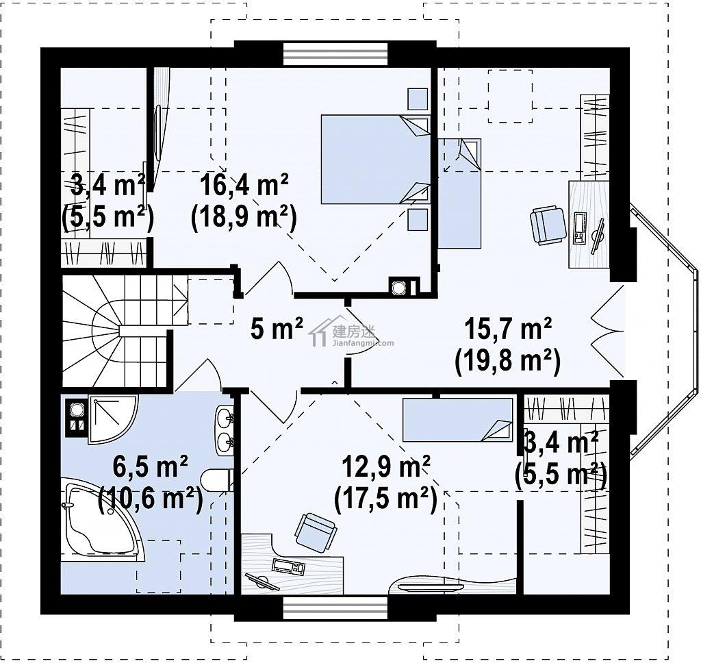 今天建房迷(微信公众号 jianfangmi )给大家分享这套农村盖房11米X10米两层三开间尖顶砖混结构房屋设计图,外观低调,室内布局紧凑,建筑面积153平米,适合采用砖混或者是钢框架配砌块的方式来建造。 随着建房迷队伍的壮大,为了及时解决广大建房迷粉丝问题,所以开放管理员【乌龟】微信。大家可以添加管理员乌龟的个人微信号,这样您可以: 随时收到最新的轻钢自建案例直播,自建房设计图分享,投诉合作等。还等什么,好友名额有限,加满为止 微信号 simplewebs 外观-农村盖房11米X10米两层三开间尖顶砖