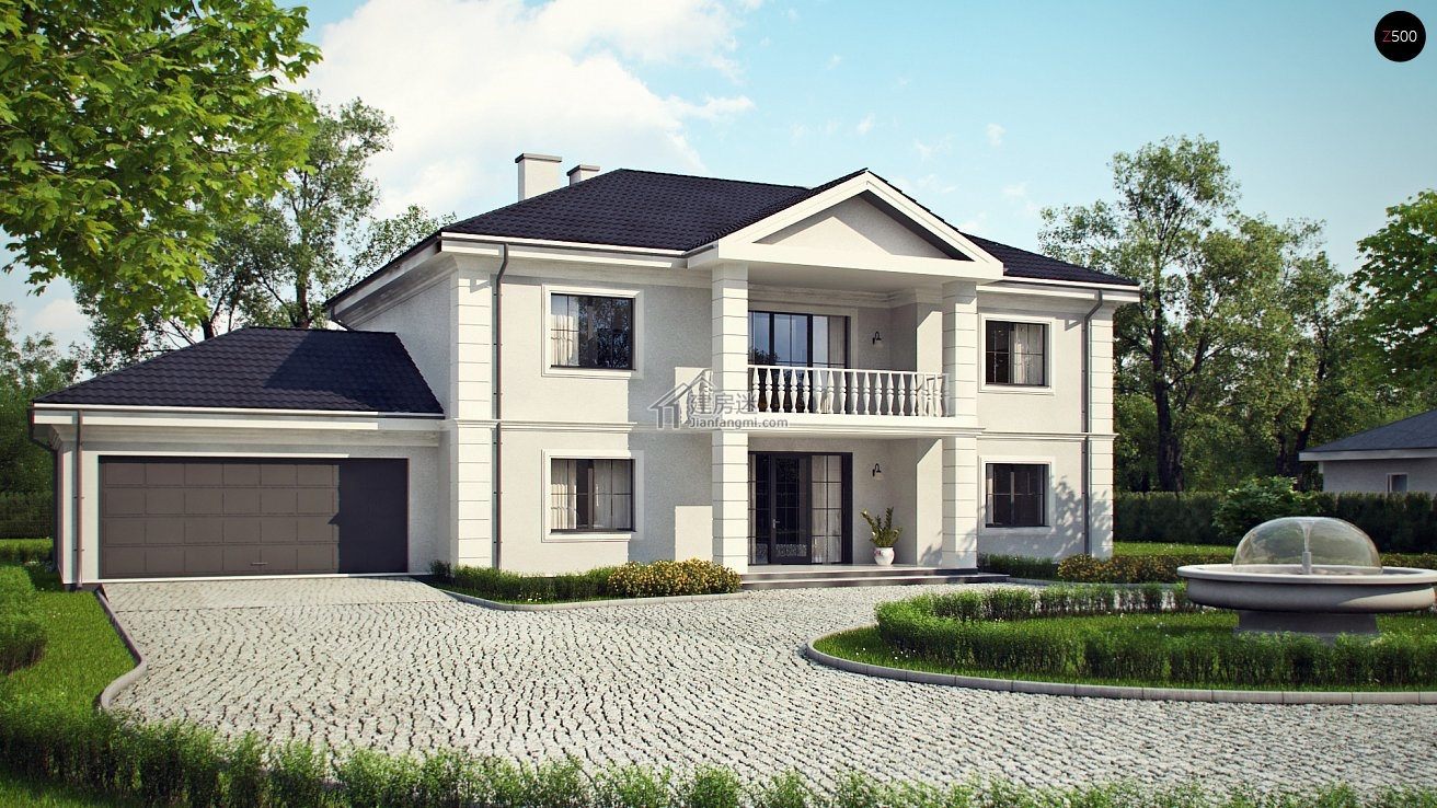 建房迷欧式风格24米x13米两层砖混结构自建房设计图