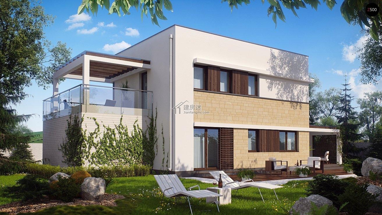 新农村自建房现代简约风格13米x9米两层带车库盖房设计图