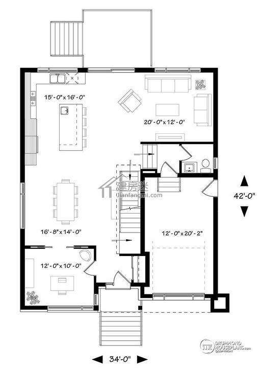 农村自建房设计图10米x12米两层带地下室现代简约风格