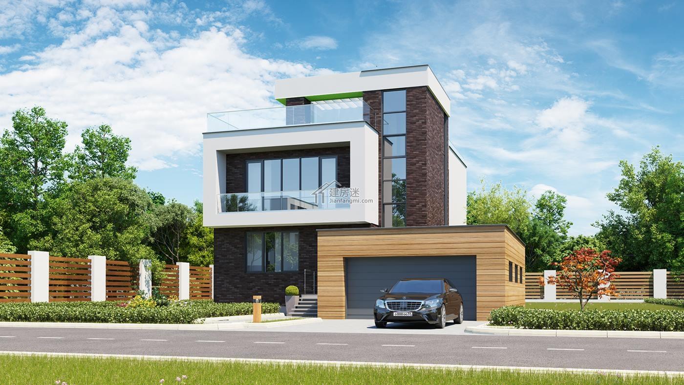 农村二层房屋设计图现代极简风格10米x15米带落地窗及车库