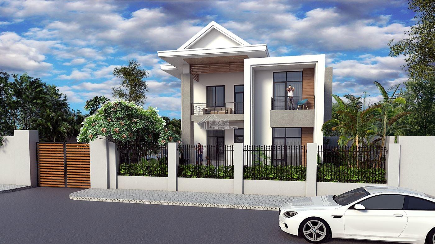 建房迷农村两层现代风格别墅设计图11米x18米砖混结构盖房图纸图片