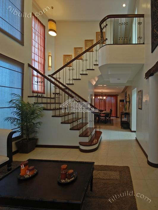 挑高客厅以及楼梯-农村二层别墅设计图8米x12米挑高客厅地中海图片