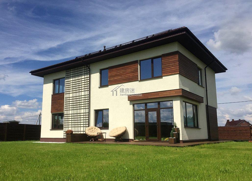 农村自建房设计图17米x17米两层超级现代风格别墅图纸