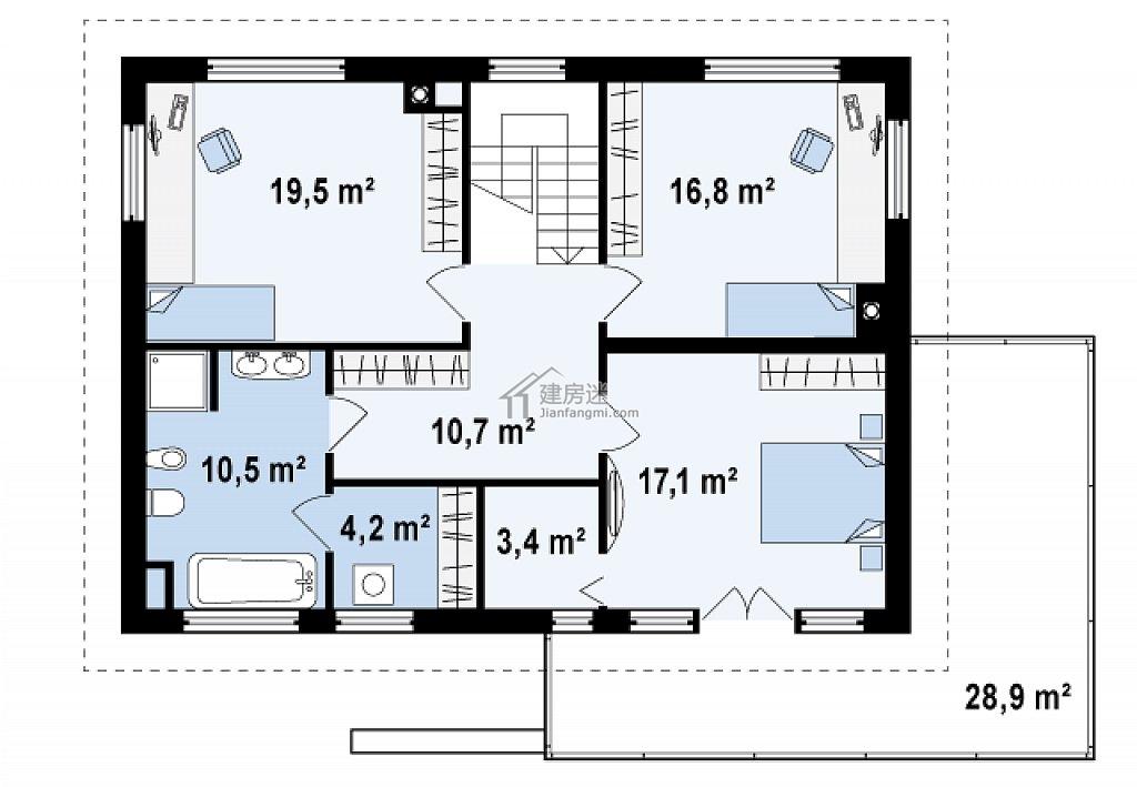 欧式简约风格自建房设计图15米x11米两层砖混结构盖房