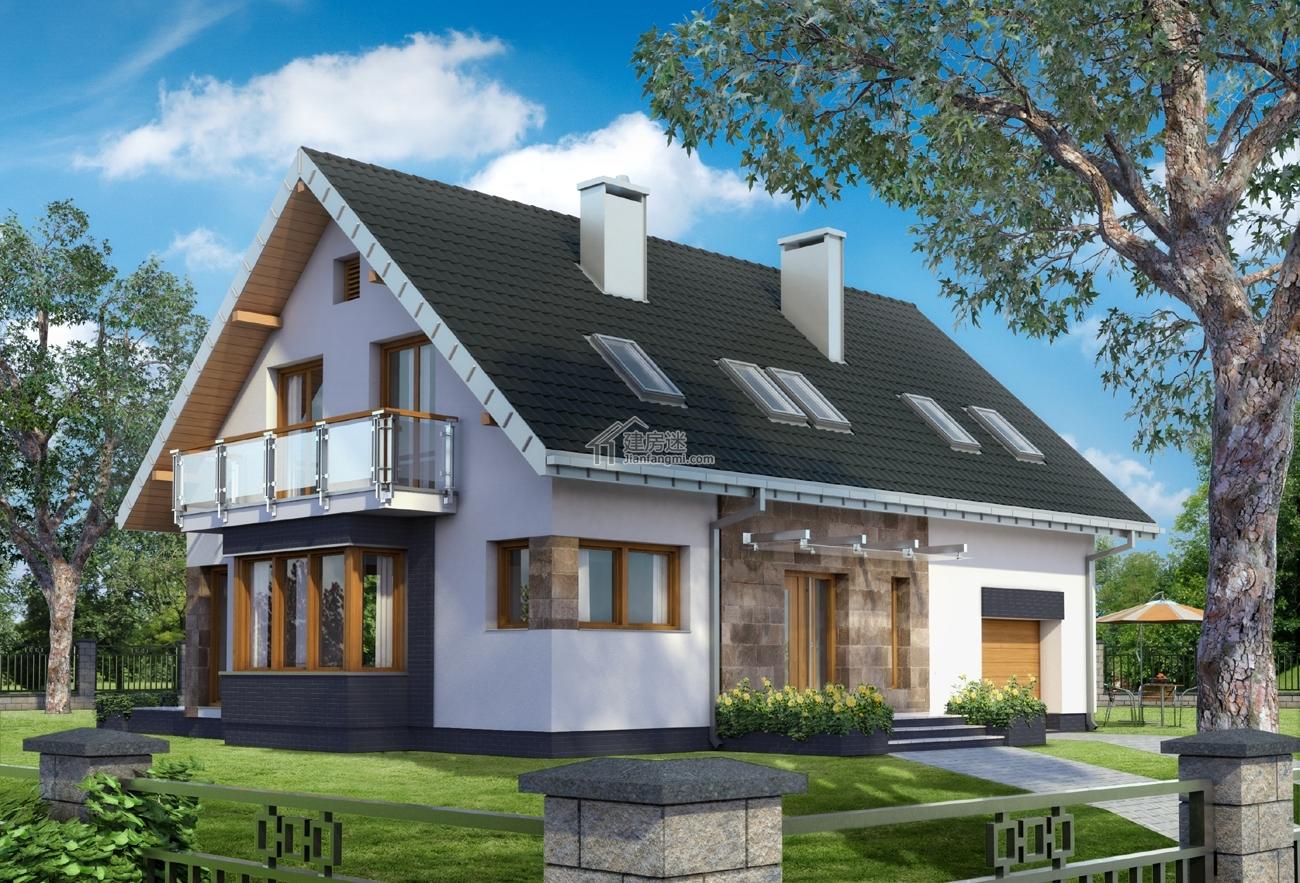 简欧风格别墅设计图14米x10米两层尖顶农村自建设计图纸