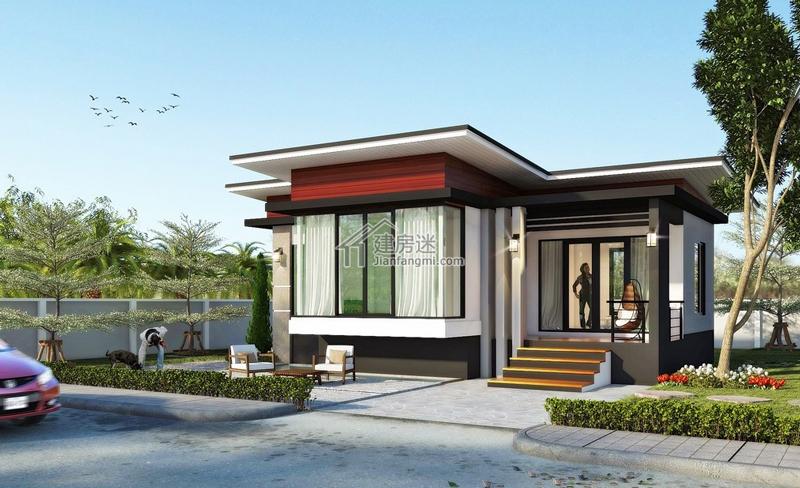农村自建房10米x9米小户型一层现代简约平顶风格别墅图纸
