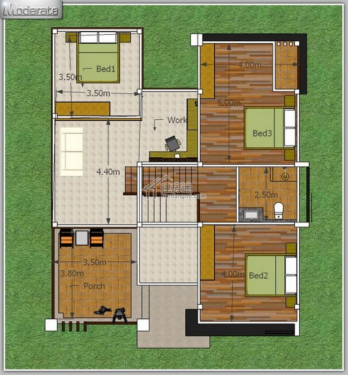 今天建房迷 ( 微信公众号 jianfangmi )和大家分享这套农村自建房小户型10米X12米一层半经济型别墅设计图,占地120平,建筑面积200平米不到,错落有致,空间利用率也很好,其实真正3-5个人的小家庭,这样的小户型建好,平时老人居住,周末带小孩回到农村度假,应该说是最合适不过的。 造价也不会高,平时打理起来也容易,下面看看整套的设计 外观-农村自建房小户型10米X12米一层半经济型别墅设计图东南亚风格  正面-农村自建房小户型10米X12米一层半经济型别墅设计图东南亚风格  一楼,入户门进来,