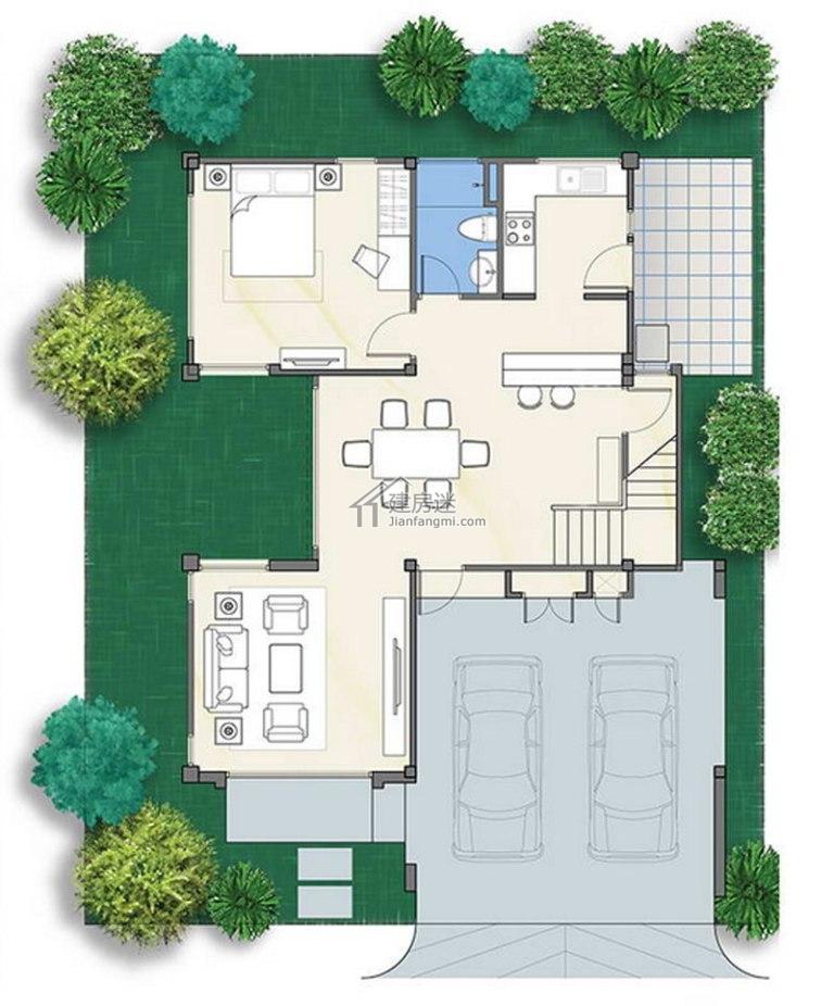 农村自建房设计图8米x13米两层带车库东南亚风格别墅图纸