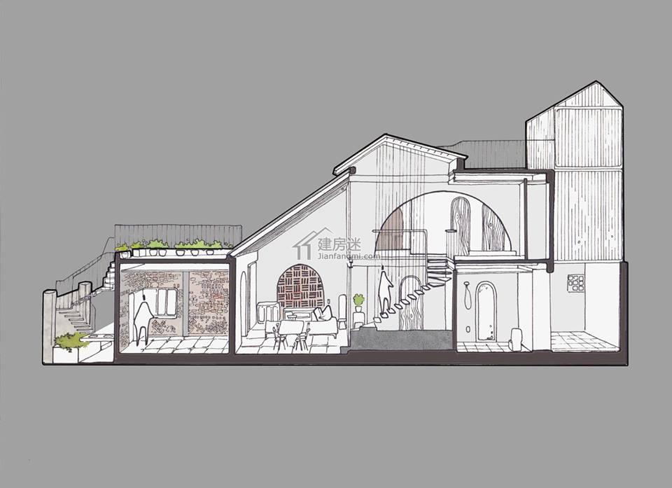 农村自建房沿街狭长地基6米x13米两面不能采光门面房盖房设计图