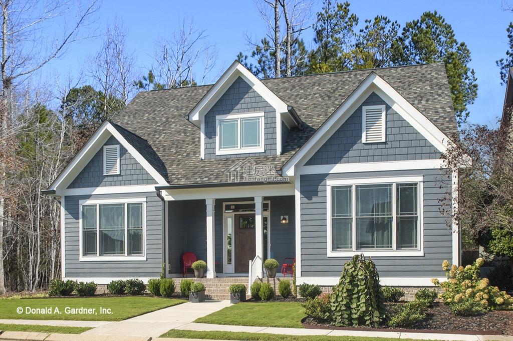 农村自建房美式风格小户型12米x14米一层带阁楼别墅设计图