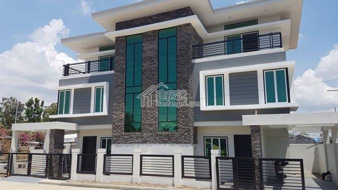 农村自建房兄弟联排18米x10米三层双拼现代风格别墅设计图