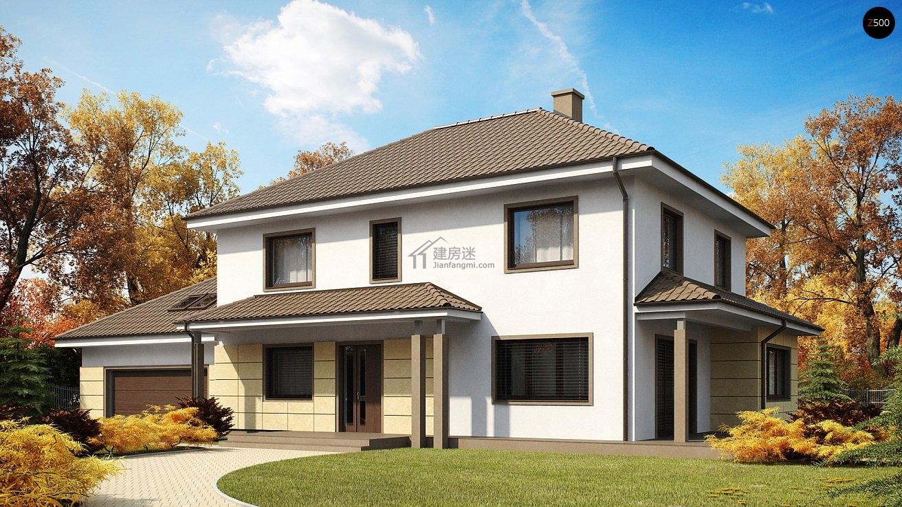 农村自建房简约欧式风格20米x10米两层双车库别墅设计图