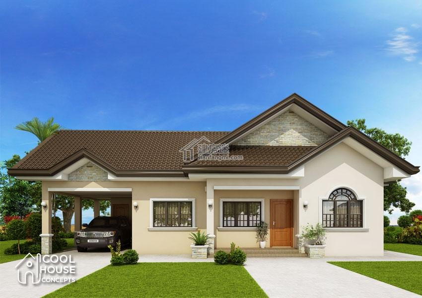 农村自建房一层带车库15米x10米150平米别墅设计图