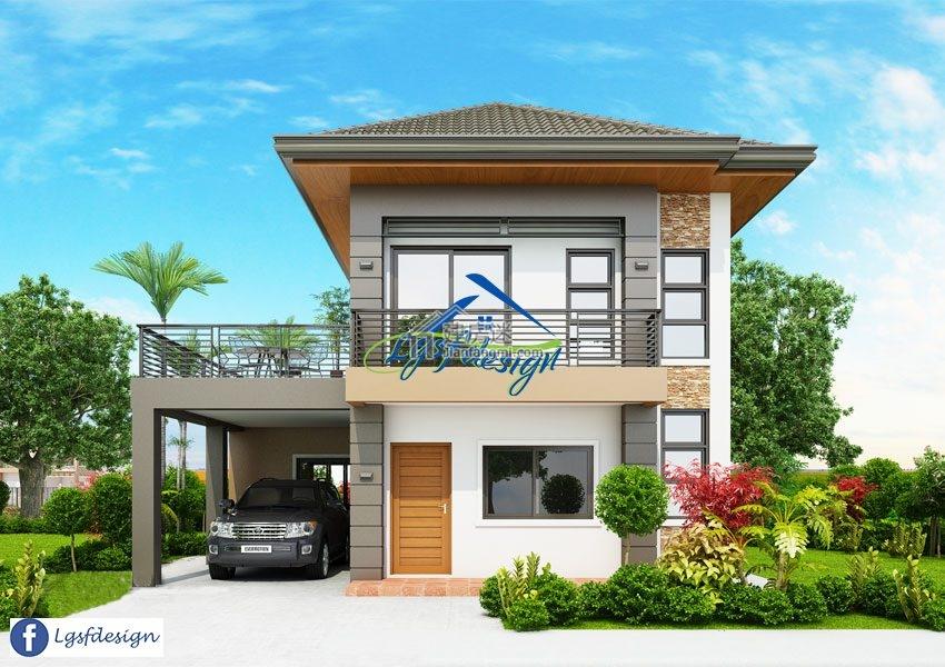 农村自建房10米x9米两层尖顶欧式小户型别墅设计图