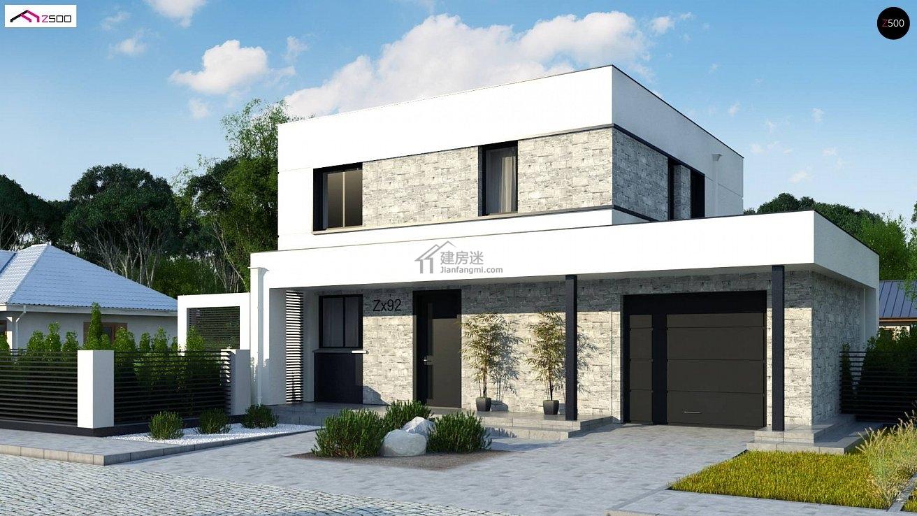 农村自建房欧式现代风格12米x10米两层带车库别墅设计图