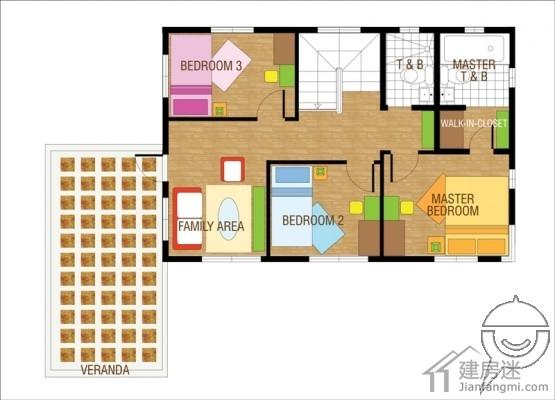 建房迷今天和大家分享这套140平米农村自建房10米X8米两层小户型经济型别墅设计图,这套户型的特点是面积不大,但是里面布局非常紧凑,对于宅基地有限,但是居住人口又较多的农民朋友可以好好参考。 房屋占地的面积大概就是10米宽8米进伸,如果按小一点的房间算可以设置成四个房间,下面我们来看实际的图来分析。 外观图-140平米农村自建房10米X8米两层小户型经济型别墅设计图 这个房屋本身出处是菲律宾,所以有很浓的海岛房屋风味,对沿海以及南部的朋友应该来说都是可以参考的。  下面是平面图-140平米农村自建房10米